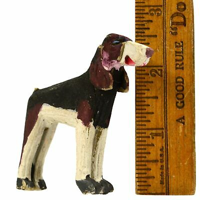 "VTG/Antique CARVED WOOD HOUND DOG Mini/Miniature 2.5"" FOLK ART Hand-Painted RARE"