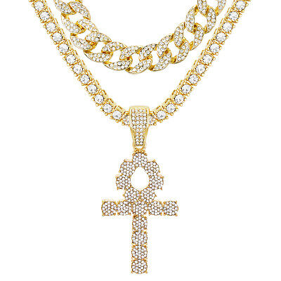 """Iced Ankh Cross Pendant 24"""" Gold Plated Tennis / Cuban Chain Necklace TCMP 722 G"""