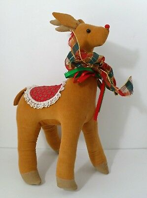 "Rare Vintage 19"" Reindeer Holiday Christmas Decoration Cord Standing Figure"