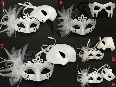 Couple Masquerade ball mask Feather Flapper Bachelor Birthday Costume Party NEW