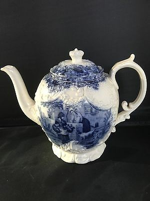 Rare c19th Antique English Transfer Printed Blue & White WT Copeland Teapot RdNo