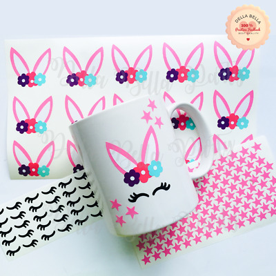 Easter Vinyl Stickers Pink Bunny Decal for Children Parties Wall Glass Mug DIY