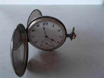 DOUBLE HUNTER Victorian TAVANNES Antique Swiss Made SOLID SILVER Pocket Watch