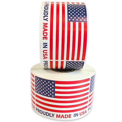 """2x3 Proudly Made in USA Label Stickers 2"""" x 3"""" Labels Milcoast  BUY 2 GET 1 FREE"""