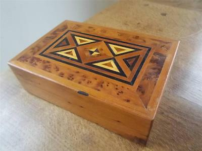 Beautiful Hardwood Inlaid Wood Marquetry Parquetry Wooden Jewellery Trinket Box