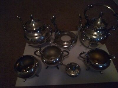 Antique P.S. C.O. Silver on Copper Plated Coffee pot & tea pot stand and burner