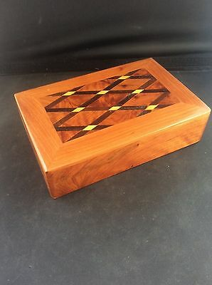 Fabulous Hardwood Inlaid Wood Marquetry Parquetry Wooden Jewellery Trinket Box