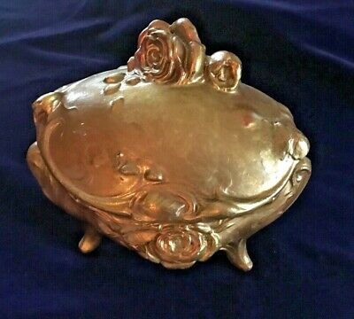 Antique Art Noveau Footed Metal Gold & Rose Embossed Trinket Jewelry Box
