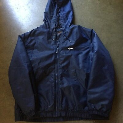 Men's Vintage Nike Spell Out Navy Blue Quilted Hooded Zip Up Jacket Coat Sz M