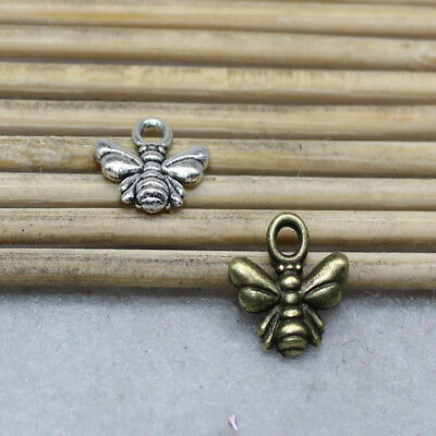 30//100pcs 10x9mm ancient silver alloy cute bee charm jewelry pendant accessories