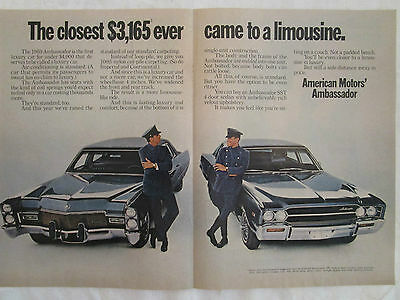 1969 AMC Ambassador Original Two Page Ad from Time November 1968.