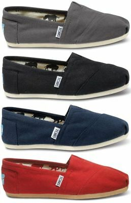 Men's New Authentic TOMS  CLASSIC Solid Canvas Slip on Flats Shoes