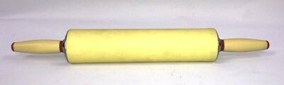 "Vintage Rolling Pin Yellow Chrome Red Accents 1950s-1960s 17.25"" Length"