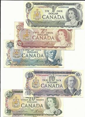 Canada Bank of Canada $1 2 5 10 20 FIVE pieces banknote lot #9438