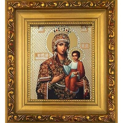 "Madonna and Child Gold Wooden Framed Icon with and Crystals 6 1/4""x5"""