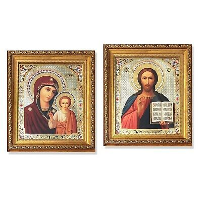 Set of 2 Pair of Matching Icons Virgin of Kazan and Christ The Teacher Gold Fra