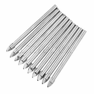 10Pcs Triangle Spear Point Head Drilling Tool Durable Ceramic Tile Drill Bit 6mm