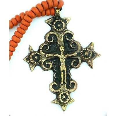 Bronze Crucifix Cross w/ Beaded Clay Ceramic Chain - From Ukraine 2 Inch