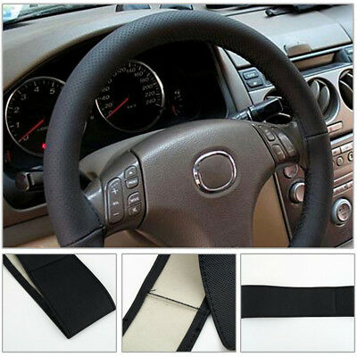 Car Truck Leather Steering Wheel Cover With Needles and Thread Black UK Seller