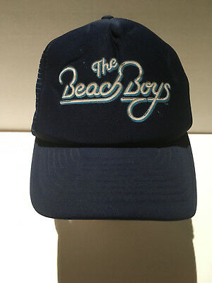 VTG 1980s Beach Boys Blue StrapBack Hat Baseball Cap 80s Designer Award trucker