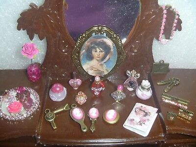 Pink Victorian Perfume Glitter Vanity Set for Your Display, Curio, Barbie PVG-3