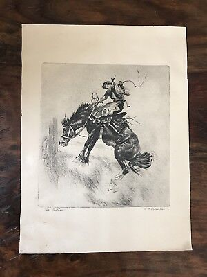 The Outlaw by R.H. Palenske Etching Print Vintage 1940s Cowboy On Bucking Bronc
