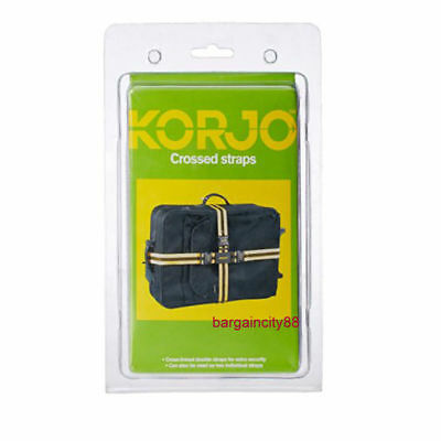 2X Korjo CROSSED LUGGAGE STRAPS 180cm&250cm Long Luggage Case Bag Security Belts