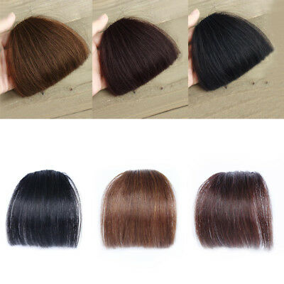 100% Real Human Hair Neat Thick/Thin Air Bangs Clip In Fringe Front Hairpiece