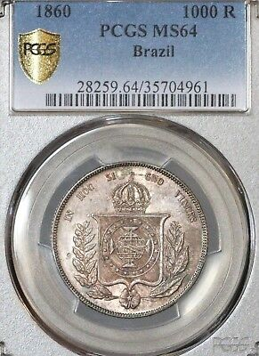 1860 Brazil 1000 Reis Pcgs Ms64 Population 1 Only 2 Higher Gorgeous Rare Coin!!