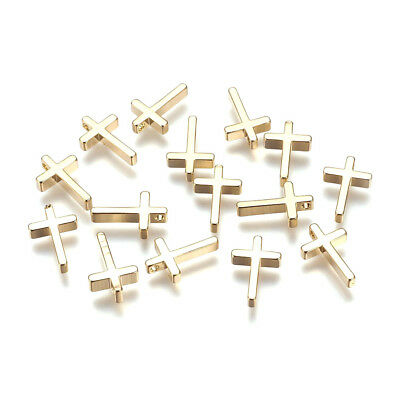 10pcs Gold Plated Brass Cross Charms Smooth Dangle Pendant Findings Craft 13x8mm