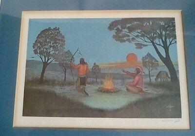"""Johnny Tiger """"camp Scene"""" Signed Limited Edition #612/3000 1974 Native American"""