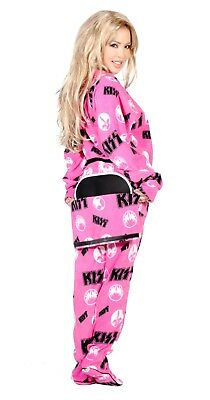 Unisex Pink KISS Drop Seat Footed Pajamas - Adult Sized Footie Hooded PJ