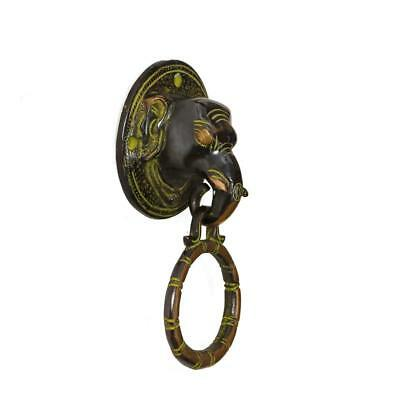 Antique Elephant Bronze Brass Door Knocker Figure Ring bell Cast Bells Vintage