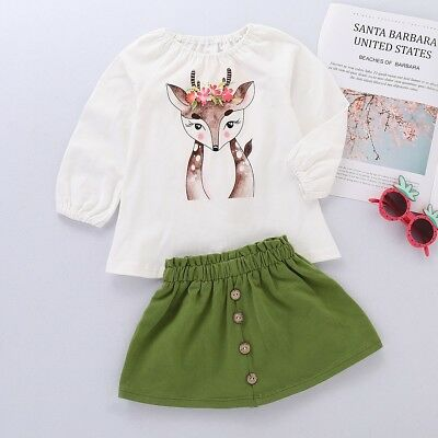 Cute Baby Girl Toddler Xmas Deer Cartoon Print Long Sleeve Tops+Skirt Outfit Set