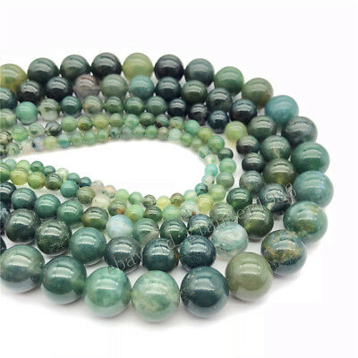 Natural Stone Moss Grass Agate Round Loose Beads Jewelry Making 4 6 8 10 12mm