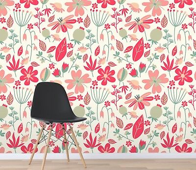 3D Red Floral Art 3 Wallpaper Mural Print Wall Indoor Wallpaper Murals UK Summer