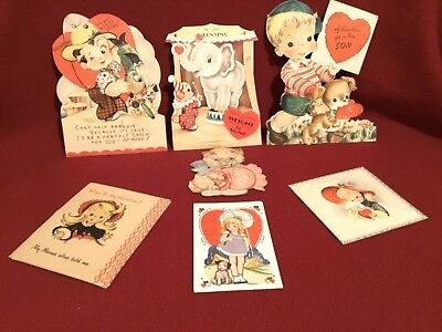 """Vintage Greeting Cards """"David's Valentines"""" 1940's (7)~(4) w/ moveable parts"""