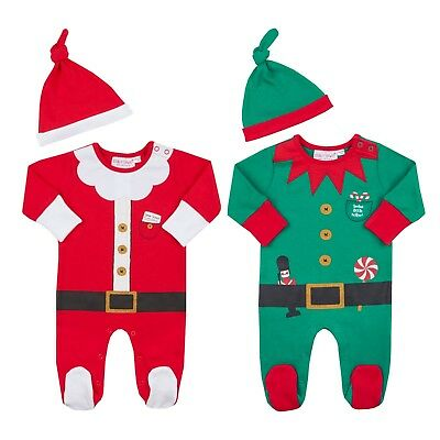Unisex Baby Christmas Novelty Sleepsuit And Hat Set Santa or Elf Newborn to 3-6m