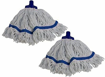 2 x Syr Freedom II Midi Looped Yarn Coloured Socket Mop Head Blue 910218 A0-2
