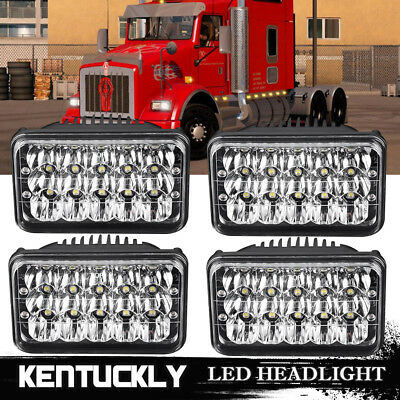 "4x6"" LED Headlights for Kenworth T400 T600 T800 W900L W900B Classic 120/132 4pcs"