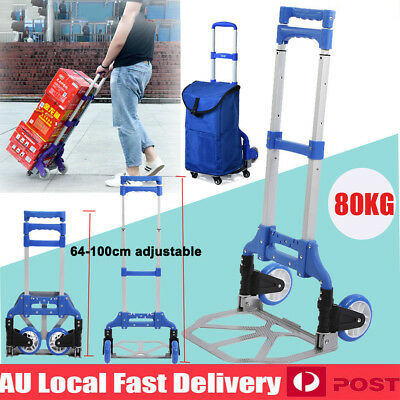 Portable Folding Luggage Cart Hand Trolley Wheels Truck Foldable Cargo Cart 80KG