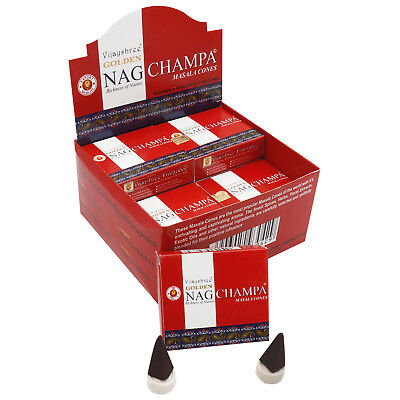 Original Golden Nag Champa Räucherkegel 12 Packungen X 10 = 120 Räucherkegel