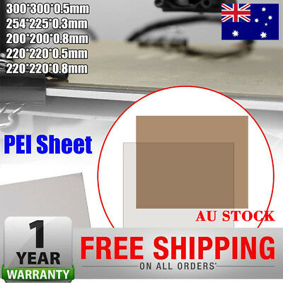 PEI Sheet Polyetherimide Build Surface 3D Printer w/ Adhesive 5 Sizes Choose