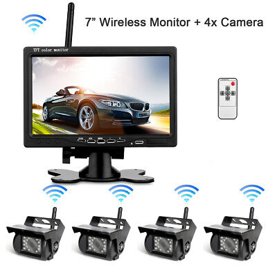 "4 X Wireless Rear View Backup Camera Night Vision For RV Truck Bus+7"" HD Monitor"