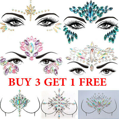 Adhesive Temporary Tattoo Sticker Face Gems Jewels Festival Body Glitter Crystal