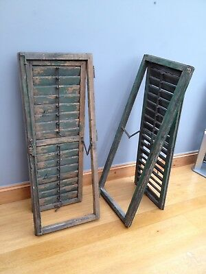 Large Vintage Wooden Window Shutters French Louvred Shabby Chic Old Reclaimed