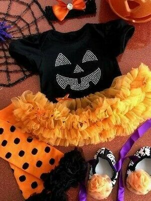 BABY GIRL HALLOWEEN PUMPKIN Outfit Set FANCY DRESS Costume PARTY Cute GIFT Love