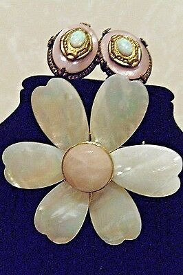 vintage mother of pearl flower pink pearly brooch & victorian clip earrings set