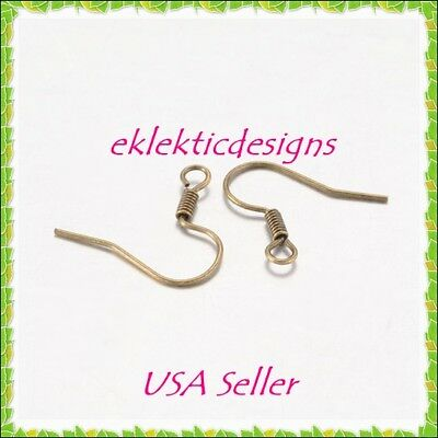 50pcs Antique Brass Bronze French Hook Fish Wire & Coil Earrings Findings 25pr