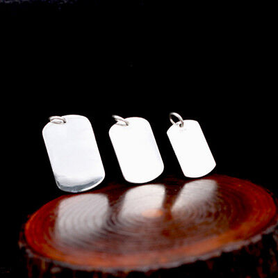 Real 999 Sterling Pure Silver Pendant Smooth Surface Dog Tag